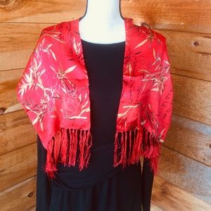 100% Red Silk Japanese Bamboo Print Fringed Scarf
